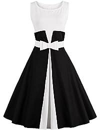 Vintage Rockabilly Swing Tea Bowknot Color Block Pinup Women Dress