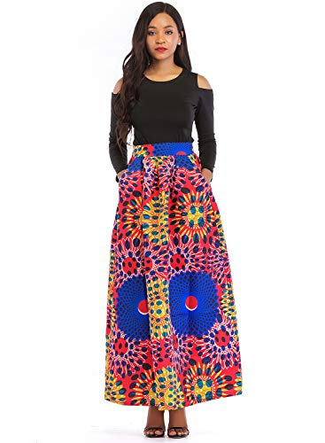 Aecibzo Party Cold Piece Dress blue Floral s Pockets Red Two Long Print Women Shoulder Skirts ZxrZv4q
