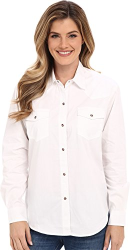 Roper Women's L/S Solid Basic Snap Front White 1X ()
