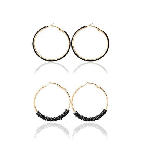 Dcfywl731 Bohemian Circle Colorful Beaded Earrings,CHUYUN Gold Plated Hoop Dangle Earrings for Girls (2 Pcs Black)