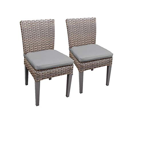 TK Classics Florence Rectangular Outdoor Patio Dining Table w/ 6 Armless Chairs -