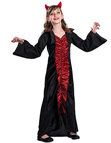 Vampire Themed Costume (EraSpooky Girl's Victorian Vampiress Costume Dress(Black Red, Medium))