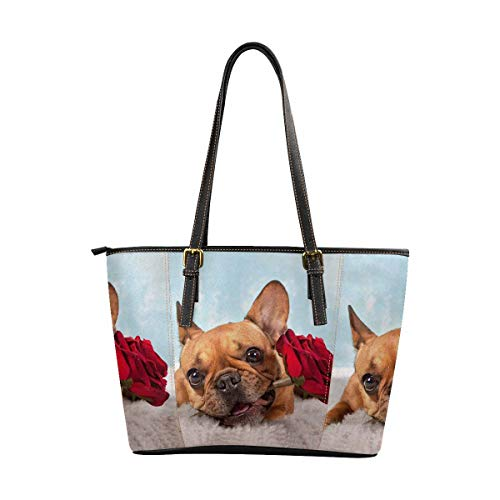 InterestPrint Women Handbags Shoulder Bags Tote PU Leather Handbags Brown French Bulldog With Red Rose