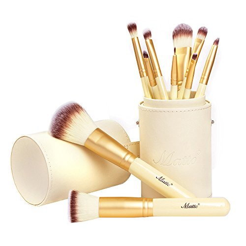 Matto Makeup Brushes 10-Piece Golden Makeup Brush Set with Foundation Powder Mineral Eye Face Make Up Brushes...