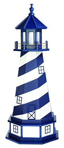 Country Living Primitives Amish Handcrafted Wood Garden Lighthouse with Base - Patriot Blue & White Cape Hatteras Style (6 Foot with Base)