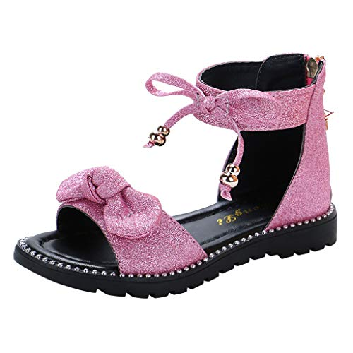 Miuye Toddler's Shoes ChildrenInfant Kids Baby Girls Cute Bowknot Bling Sequins Princess Shoes Sandal Pink -