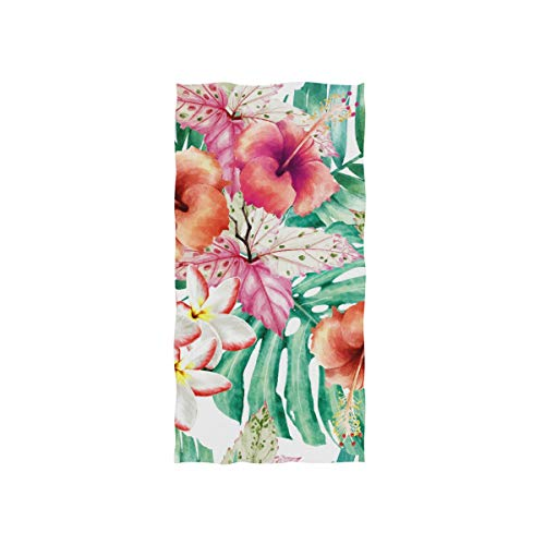 DOMIKING Watercolor Pattern Tropical Print Soft Bath Towel Absorbent Fade Resistant Pool Beach Bath Towel for Bathroom Hotel Gym and Spa, 30