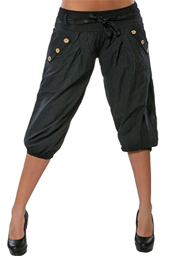 ual Buttons Trim Low Rise Jogging Pants Trousers Cropped Pants Trousers Black M (Womens Low Rise Cropped Pant)