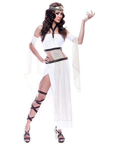 Sexy Grecian Goddess Costume Roman God Long White Dress Sizes: Large