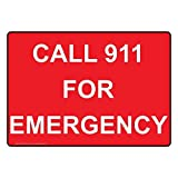 Call 911 For Emergency Red Metal Sign Aluminum Signs 12X16 Inch