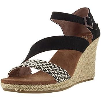 2506a0cc978 TOMS Women s Clarissa Wedge Black White Woven Rope Sandal 6.5 B (M)