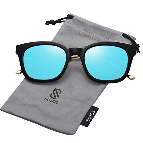 - SOJOS Classic Polarized Sunglasses for Women Men Mirrored Lens SJ2050 with Black Frame/Blue Mirrored Polarized Lens