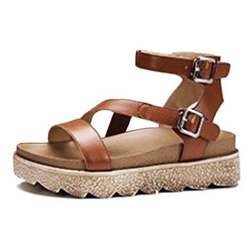 COOLCEPT Damen Mode-Event Ankle Strap Sandalen Flatform Open Toe Schuhe Braun