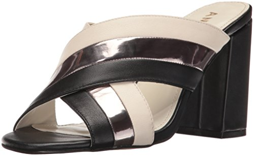Anne Klein Women's Wileta Leather Mule Black/Ivory