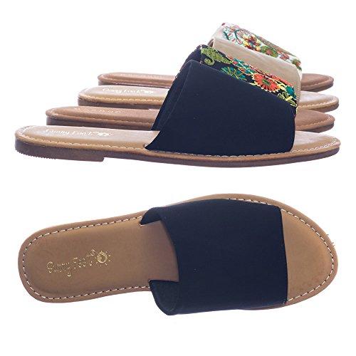 Sandalo Piatto A Fascia Larga In Bambù Con Tessuto Floreale Solido O Ricamato, Piedi Solidi-nero Massiccio