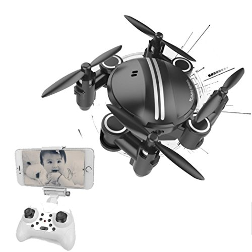 Gbell Mini RC Drone with FPV WIFI Nano Camera- Quadcopter 2.4GHz 4CH 6-Axis Gyro 3D UFO Drone for Beginner,Kids Birthday Christmas New Year Gifts,White Black (Black) by Gbell-USA Warehouse