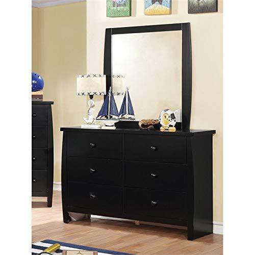 Furniture of America Devon 6 Drawer Dresser and Mirror Set in Black (Mirror Portrait Dresser)