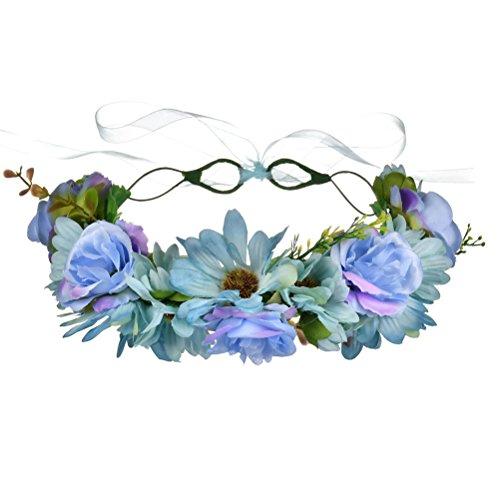 Vivivalue Boho Flower Crown Adjustable Flower Headband Hair Wreath Floral Headpiece Halo with Ribbon Wedding Party Festival Photos Light Blue