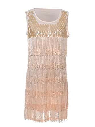 Anna-Kaci S/M Fit Champagne Poppin Sequined Fringed 1920s Flapper Inspired Dress