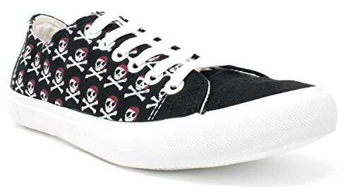 Ann Arbor T-shirt Co. Pirate Shoes | Buccaneer Fun Costume Party Skull & Crossbones Tennis Gym Sneaker - (Lowtop, US Men's 8, US Women's 10) Black]()