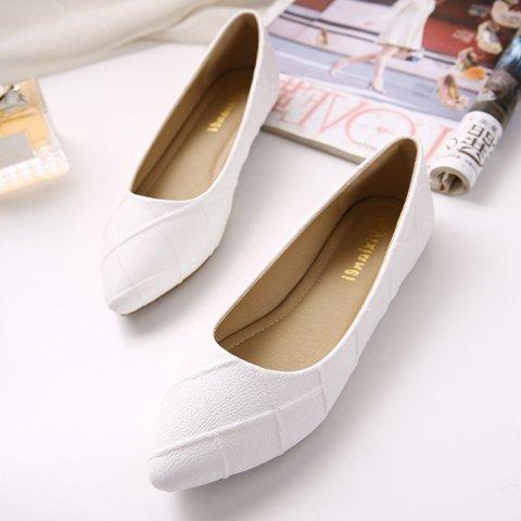 GAOLIM Las Mujeres Solo Zapatos Zapatos Planos Durante La Primavera Y El Otoño, La Luz De La Punta De La Boquilla Plana Con Un Gran Número De Mujeres Zapatos Zapatos Blancos Un blanco