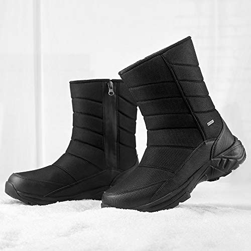 SILENTCARE Mens Winter Mid-Calf Snow Boot Fur Warm Waterproof Slip On Outdoor Athletic