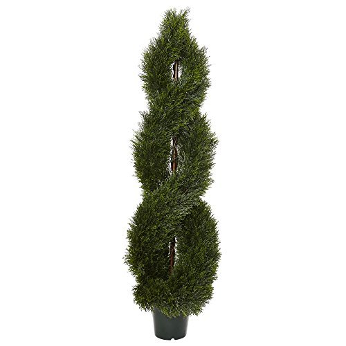 Nearly Natural 5483 UV Resistant (Indoor/Outdoor) 5' Pond Cypress Spiral Topiary by Nearly Natural