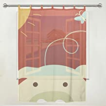 Yochoice 1 Piece Living Room Bedroom Kid's Office Decorations Window Door Gauze / Sheer Curtain/Curtains/panel/treatment Decor Tie Top Curtain 55x78inch,Cute Cartoon Pig