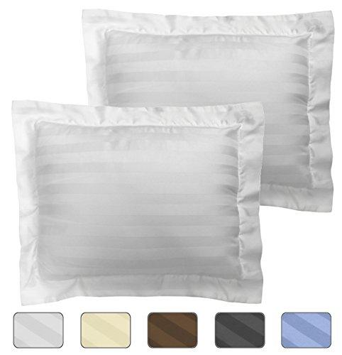 American Pillowcase Egyptian Cotton Luxury Striped 540 Thread Count 2-Piece Pillow Sham Set - Boudoir, White Boudoir Pillow Cover