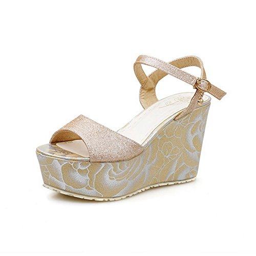 AmoonyFashion Womens PU Assorted Color Buckle Open Toe High-Heels Sandals Gold JBh9F8
