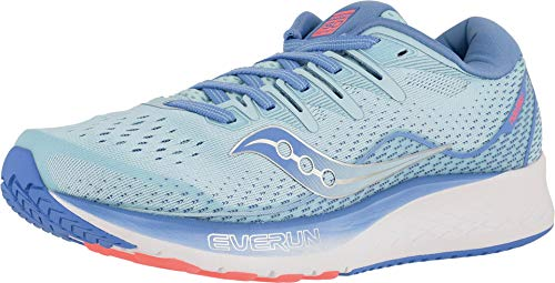 Saucony Blue Shoes - Saucony Women's Ride ISO 2 Running Shoe, Blue/Coral, 8.5 M US