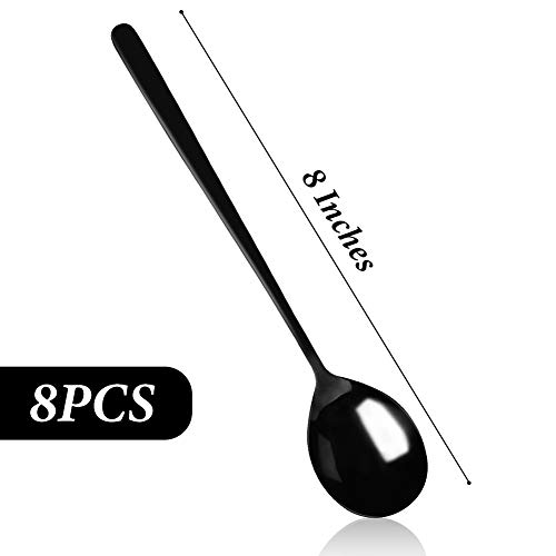 HANSGO Stainless Steel Korean Spoons, 8PCS 8 Inches Black Soup Spoons, Long Handle Asian Soup Spoons, Rice Spoon, Dinner Spoons, Table Spoon for Home, Kitchen or Restaurant