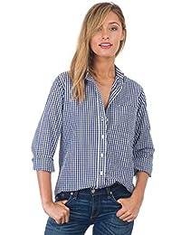 CAMIXA Women's Gingham Shirt Checkered Casual Long Sleeve Button Down Plaid Top