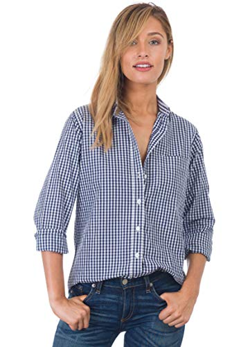 CAMIXA Women's Gingham Shirt Checkered Casual Long Sleeve Button Down Plaid Top M Blue Mini