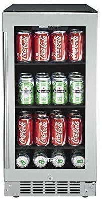 15 inch 80 Can Built in Beverage Cooler, Beverage Refrigerator, Adjustable Glass Shelves, Seamless Stainless Steel Door, Temp Memory Function, Door-Left-Open Alarm&High Temp Alarm, Security Lock and Key