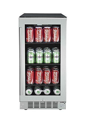 Titan 15 inch 80 Can Built in Beverage Cooler, Adjustable Glass Shelves, Seamless Stainless Steel Door, Temp Memory Function, Door-Left-Open Alarm&High Temp Alarm, Security Lock and Key