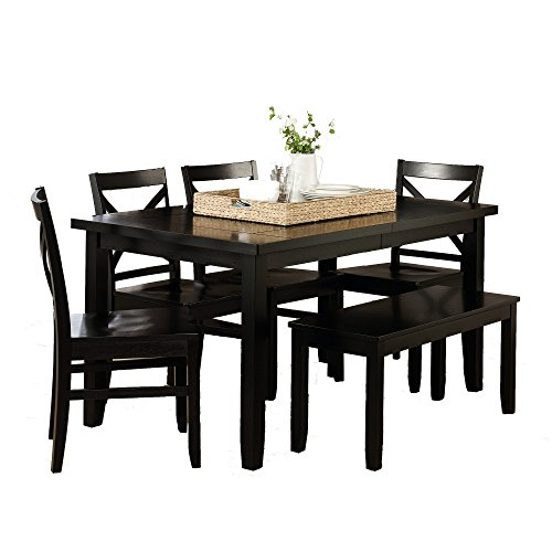 Cottage Dining Set 6 Pieces With Table And 4 Side Chairs And Bench Of Manufactured Wood plus FREE GIFT