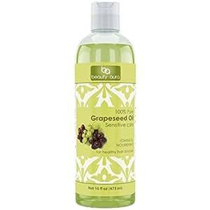 Beauty Aura 100% Pure Hexane Free Grapeseed Oil, 16 Fluid Ounce