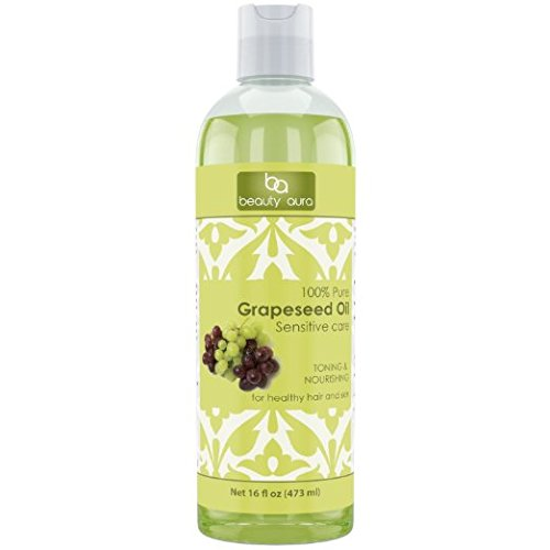 Beauty Aura 100% Pure Grapeseed Oil 16 Fl Oz Hexane Free (16 Lf Oz)