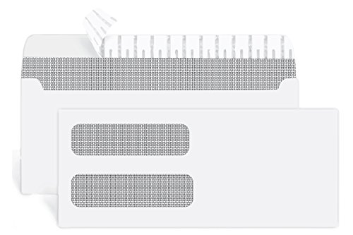 500 #10 SELF SEAL Double Window Security Envelopes-Perfect size for Multiple Business Statements, Quickbooks Invoices, and Return Envelopes -4 1/8 X 9 ½''