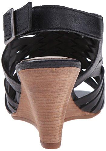Steven by Steve Madden livvey de las mujeres sandalias de cuña Cuero negro