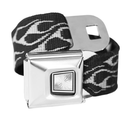 Belt Buckle Seat Flames - Silver Flames Classic Seatbelt Buckle Fashion Belt