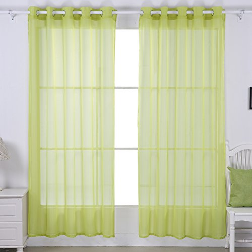 Deconovo Decorative Sheer Voile Curtains Grommet Sheer Curtains Gauze Curtains Tulle Curtains For Office 52w X 95l Inch Yellow Green 2 Drapes