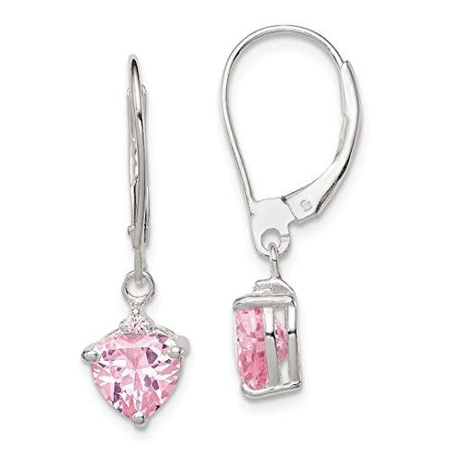 925 Sterling Silver Pink Cubic Zirconia Cz Leverback Drop Dangle Chandelier Earrings Lever Back Fine Jewelry For Women Gift Set -
