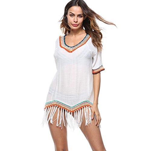 TOOPOOT Clearance Deals Sundress ❤ Women 2018 Tassel Gauze Solid Hem Beachwear Crochet Smock Bikini Cover up (Free Size, White) (Smock Dress Embroidered)