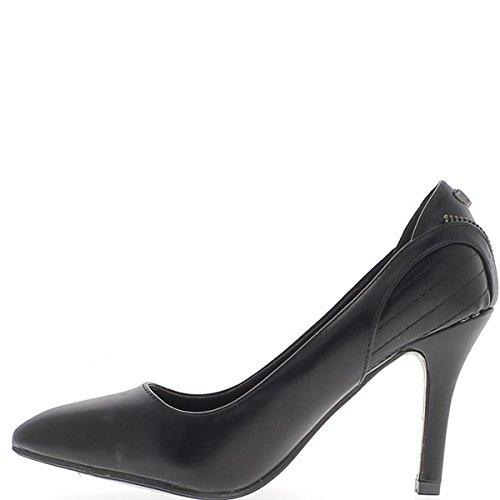 Zapatos negros con costuras sharp de fino tacón 9cm