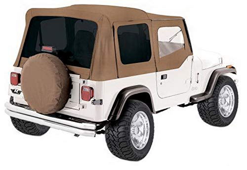 RAMPAGE PRODUCTS 68217 Complete Soft Top with Frame & Hardware for 1987-1995 Jeep Wrangler YJ, with Soft Upper Doors, Spice Denim w/Tinted Windows