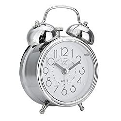SoundsBeauty Classic Silent Double Bells Quartz Movement Bedside Table Retro Mini Alarm Clock - Silver