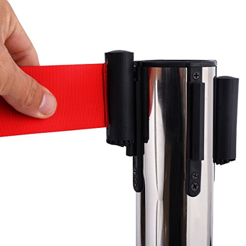 6 Pcs. Belt Retractable Crowd Control Stanchion Barrier Posts Queue Pole, Red by Alek...Shop (Image #6)