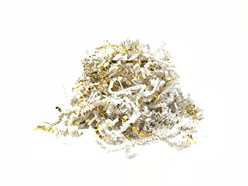 Fancy Blend Multicolored Paper/Foil Crinkle Cut Shred (White Paper/Gold Foil, 8 Ounces (1/2 Pound))